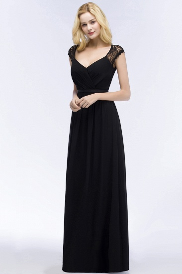 Elegant Lace Black V-Neck Sleeveless Bridesmaid Dress with Hollowout Back_5