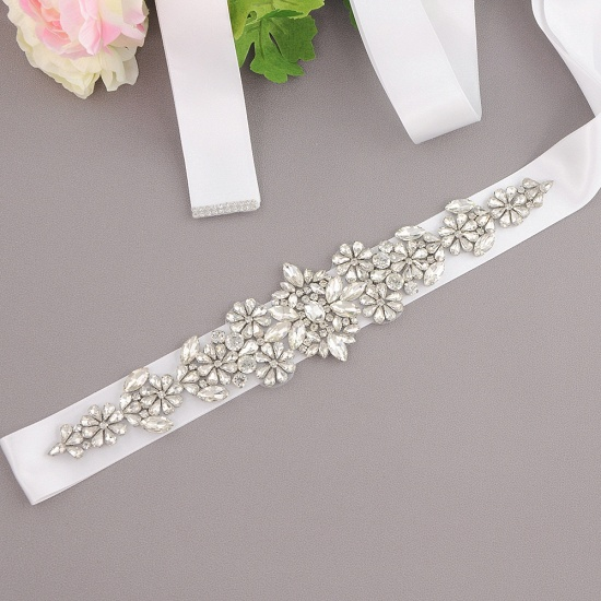 BMbridal Satin Flowers Pattern Wedding Sash with Pearls_1