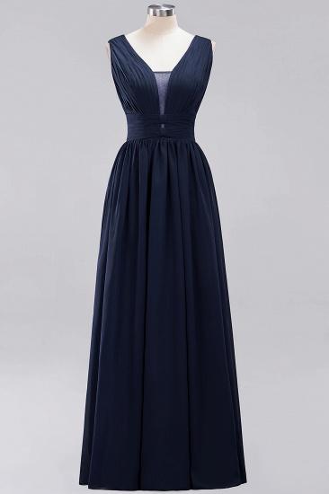 Modest Dark Green Long Bridesmaid Dress Deep V-Neck Chiffon Maid of Honor Dress_28
