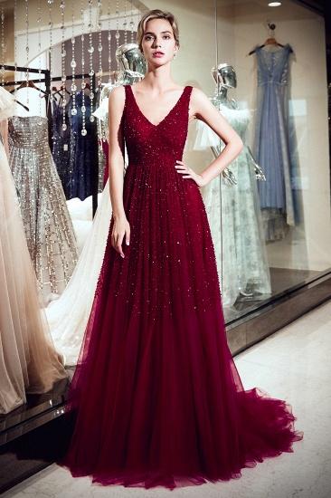 BMbridal Burgundy V-Neck Sequins Beadings Prom Dress Long Tulle Evening Gowns_1