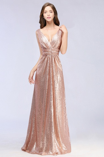 Sparkly Sequined V-Neck Sleeveless Bridesmaid Dress Online_4