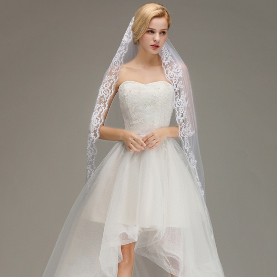 One Layer Wedding Veil with Comb Lace Edge Appliqued Bridal Veil_2