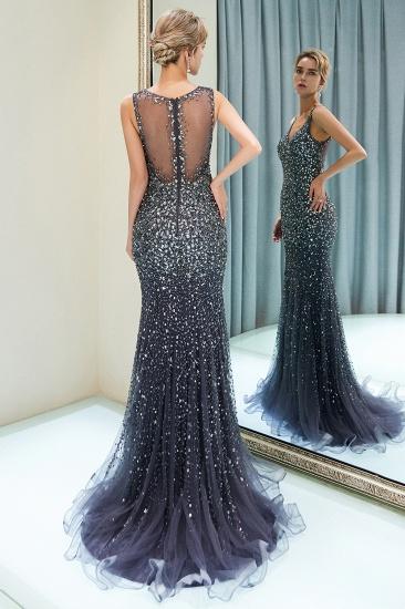 Glamorous V-Neck Rhinestones Prom Dress Long Mermaid Evening Gowns_15