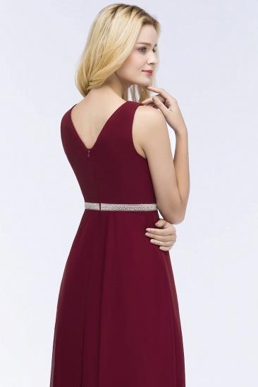 BMbridal Chiffon Burgundy Long Affordable Bridesmaid Dress With Beading Sash_6