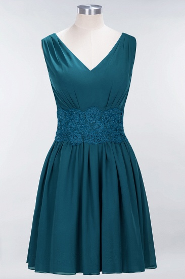 Pretty V-Neck Short Sleeveless Lace Bridesmaid Dresses Online_27
