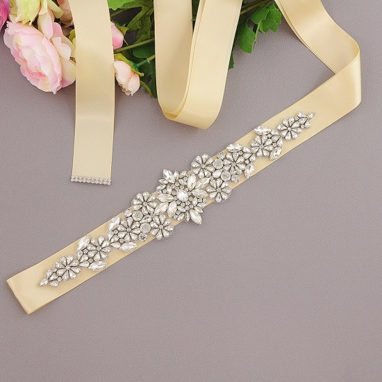 BMbridal Satin Flowers Pattern Wedding Sash with Pearls_7