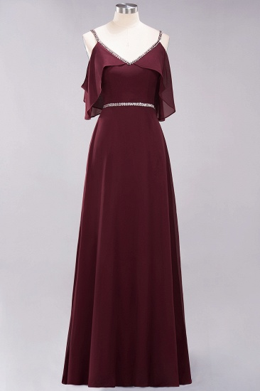 Burgundy Cold-shoulder Long Bridesmaid Dress With Half Sleeve_10