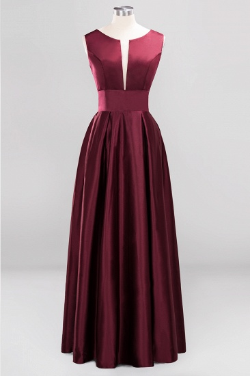 Vintage Deep-V-Neck Long Burgundy Bridesmaid Dress Online_4