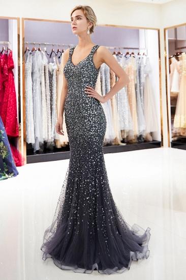 Glamorous V-Neck Rhinestones Prom Dress Long Mermaid Evening Gowns_14