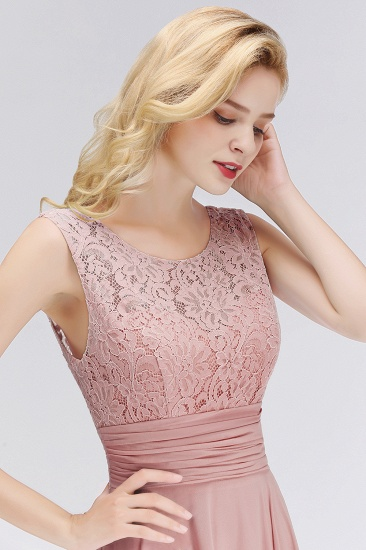 BMbridal Elegant Lace Jewel Sleeveless Dusty Rose Bridesmaid Dress Online_6