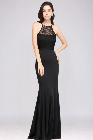 Affordable Mermaid Keyhole Black Lace Bridesmaid Dress Online_1