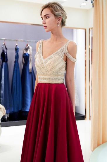 BMbridal Elegant V-neck Sleeveless Burgundy Prom Dresses A-line Crystal Beading Evening Dresses On Sale_4