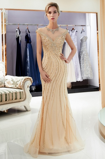 BMbridal Elegant Mermaid Jewel Long Gold Prom Dresses Sleeveless Evening Gowns with Rhinestones_5