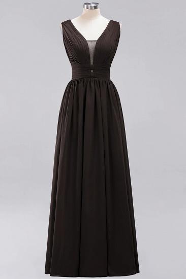 Modest Dark Green Long Bridesmaid Dress Deep V-Neck Chiffon Maid of Honor Dress_11