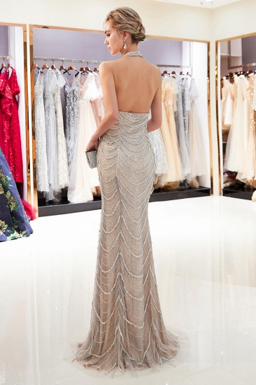 Chic Tulle Mermaid Halter Prom Dresses Sleeveless Sequined Evening Dresses On Sale_3