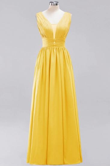 Modest Dark Green Long Bridesmaid Dress Deep V-Neck Chiffon Maid of Honor Dress_17
