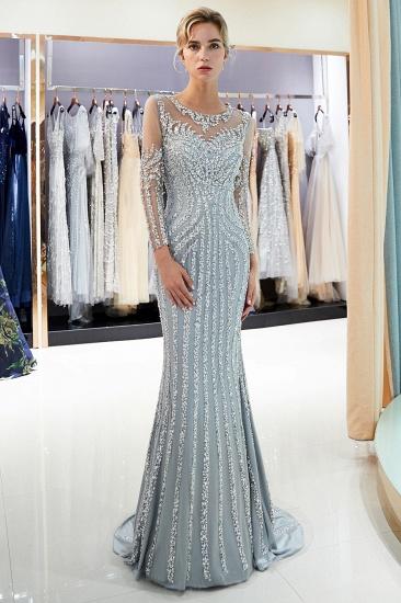 BMbridal Gorgeous Mermaid Jewel Long Prom Dresses Long Sleeves Evening Dresses with Rhinestones_7