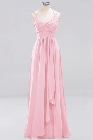 Affordable Chiffon Burgundy Bridesmaid Dress With Spaghetti Straps_4