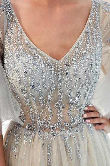 Chic V-neck Rhinestones Prom Dresses Tulle Evening Gowns with Short Sleeves Online_15