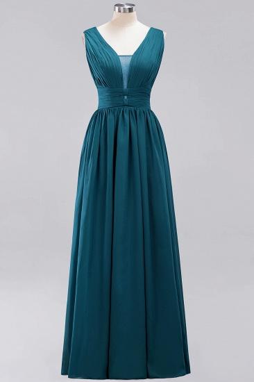 Modest Dark Green Long Bridesmaid Dress Deep V-Neck Chiffon Maid of Honor Dress_27