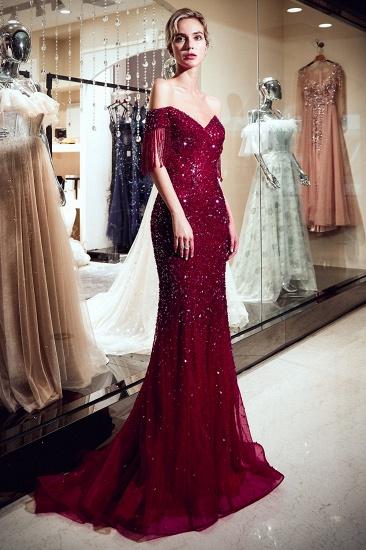 BMbridal Elegant Mermaid Off-the-shoulder Prom Dresses V-neck Sequins Long Evening Dresses_7