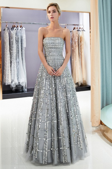 Chic A-line Strapless Sequined Prom Dresses Chiffon Long Party Dresses On Sale_5