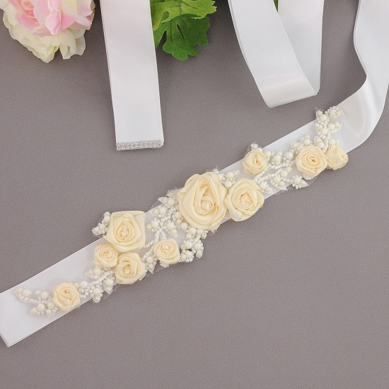 Elegant Satin Flowers Wedding Sash with Beadings_1