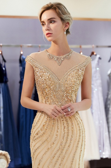 BMbridal Elegant Mermaid Jewel Long Gold Prom Dresses Sleeveless Evening Gowns with Rhinestones_8