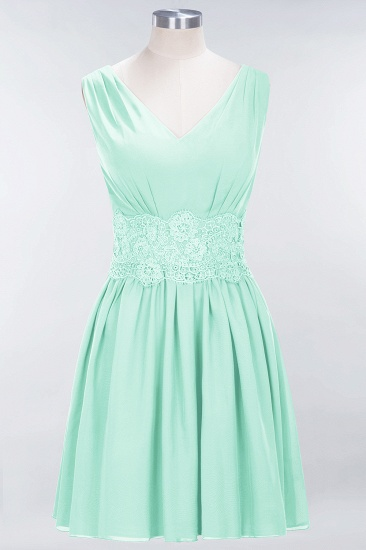 Pretty V-Neck Short Sleeveless Lace Bridesmaid Dresses Online_36
