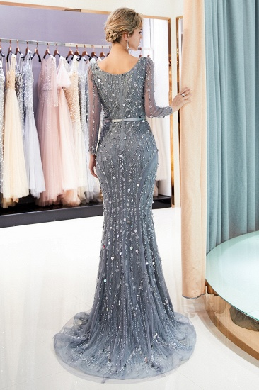Chic Mermaid Long Sleeves Prom Dresses V-neck Sequins Evening Gowns with Sash_3