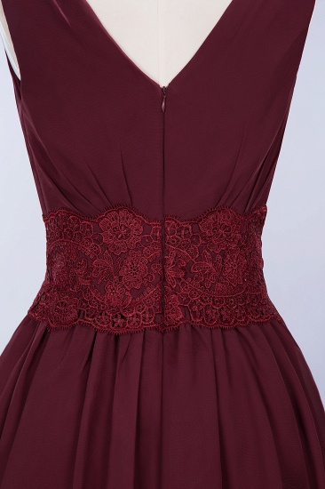 Pretty V-Neck Short Sleeveless Lace Bridesmaid Dresses Online_61