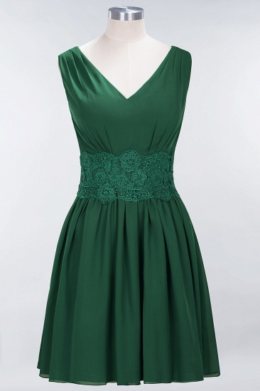 Pretty V-Neck Short Sleeveless Lace Bridesmaid Dresses Online_31