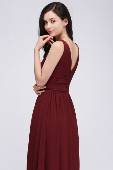 BMbridal Burgundy Long V-Neck Sleeveless Chiffon Bridesmaid Dress Online_7