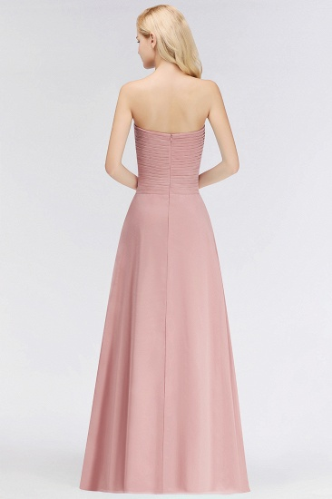 BMbridal Gorgeous Sweetheart Ruched Long Bridesmaid Dress Dusty Rose Chiffon Strapless Maid of Honor Dress_4