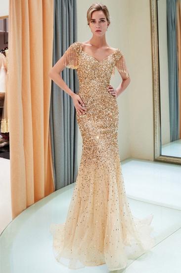 Elegant Mermaid Off-the-shoulder Prom Dresses V-neck Sequins Long Evening Dresses_14