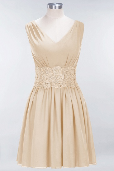 Pretty V-Neck Short Sleeveless Lace Bridesmaid Dresses Online_14