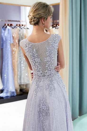 BMbridal Glamorous A-line Jewel Sleeveless Prom Dresses Lace Appliques Formal Dresses with Pearls_7