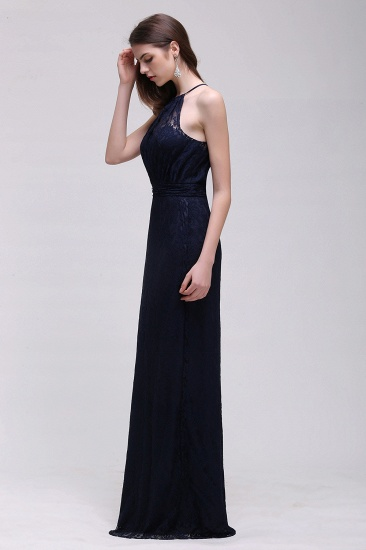 Vintage Halter Sleeveless Lace Navy Bridesmaid Dresses Affordable_4