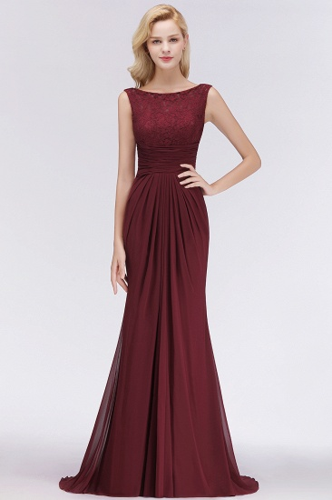 BMbridal Mermaid Scoop Sleeveless Lace Burgundy Bridesmaid Dresses with Pleats_4