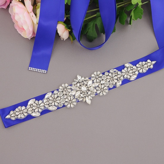 BMbridal Satin Flowers Pattern Wedding Sash with Pearls_12