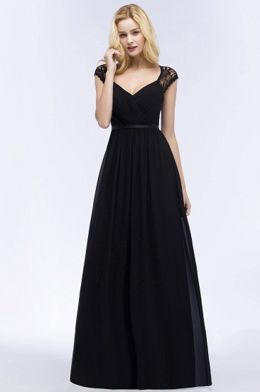Elegant Lace Black V-Neck Sleeveless Bridesmaid Dress with Hollowout Back_7