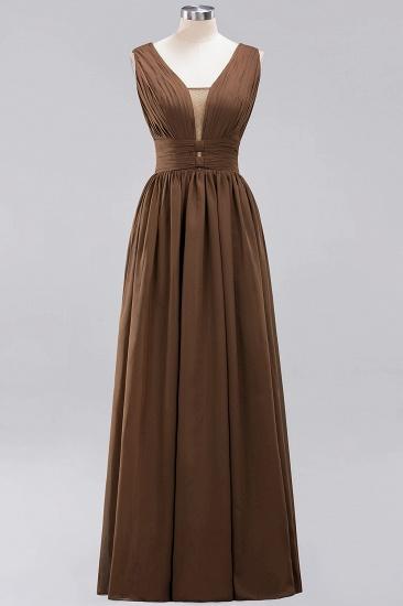 Modest Dark Green Long Bridesmaid Dress Deep V-Neck Chiffon Maid of Honor Dress_12