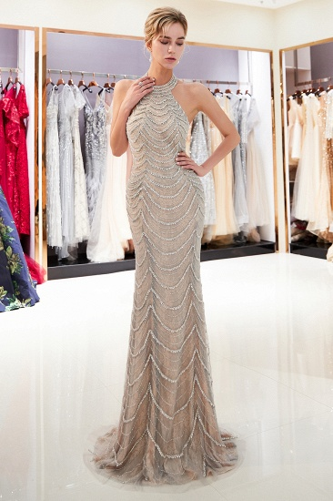 Chic Tulle Mermaid Halter Prom Dresses Sleeveless Sequined Evening Dresses On Sale_6
