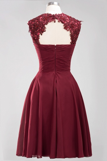 Cute Chiffon Round Neck Short Burgundy Bridesmaid Dresses with Appliques_54