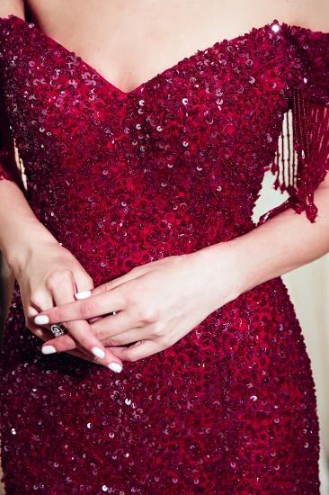 Elegant Mermaid Off-the-shoulder Prom Dresses V-neck Sequins Long Evening Dresses_9