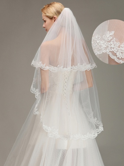 BMbridal Two Layers Lace Edge Wedding Veil with Comb Soft Tulle Bridal Veil_1