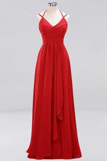 Affordable Chiffon Burgundy Bridesmaid Dress With Spaghetti Straps_8