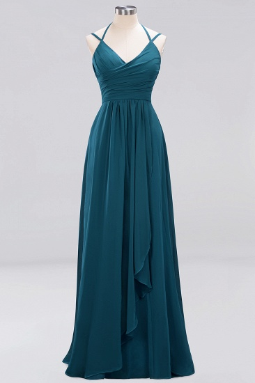 Affordable Chiffon Burgundy Bridesmaid Dress With Spaghetti Straps_26
