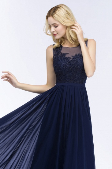 Chiffon Lace Appliques Affordable Navy Bridesmaid Dress Online_5
