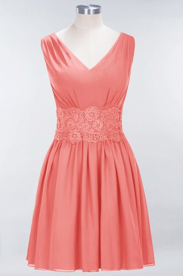 Pretty V-Neck Short Sleeveless Lace Bridesmaid Dresses Online_7